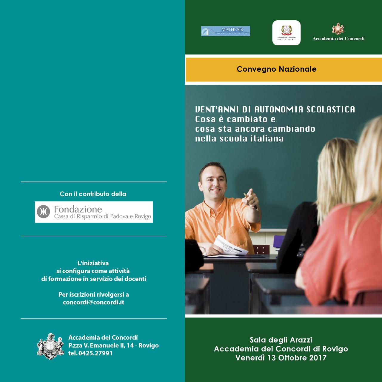 1997-2017: vent'anni di autonomia scolastica. Convegno Mathesis a Rovigo